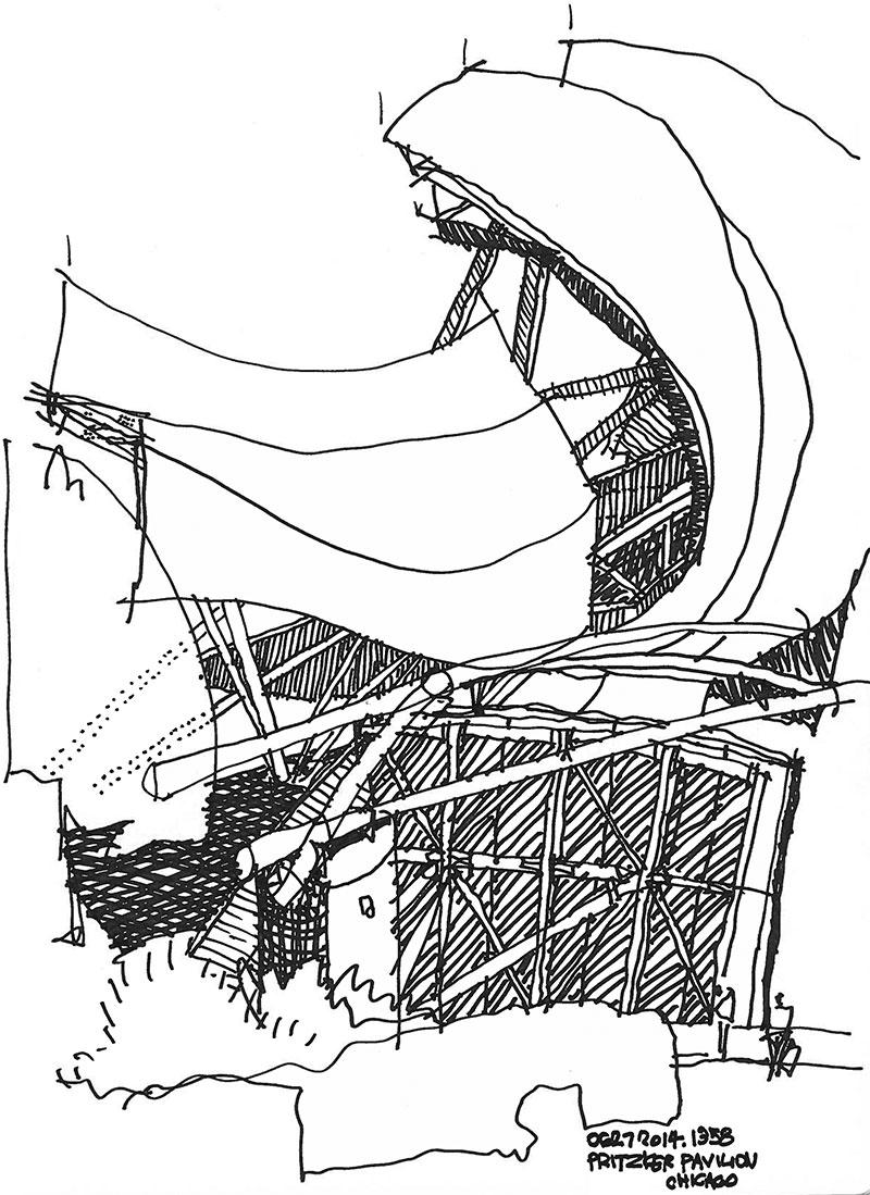 Drawing of Prtizker Pavilion by Robert Miller
