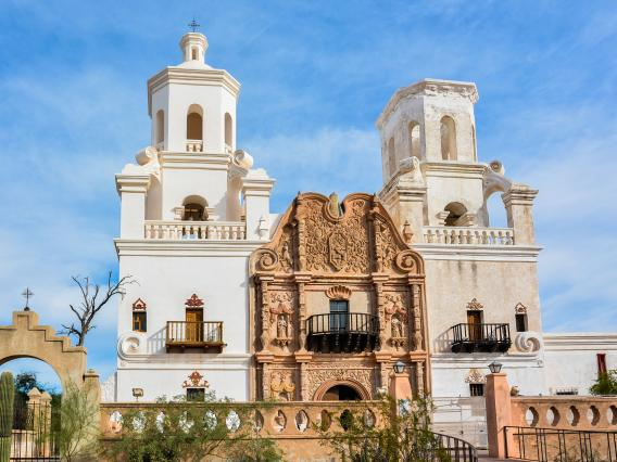 A photo of the San Xavier del Bac Mission in Tucson Arizona