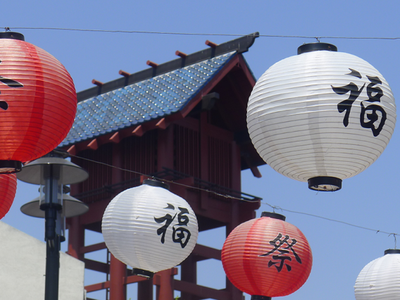 Red and white paper lanterns in Little Tokyo