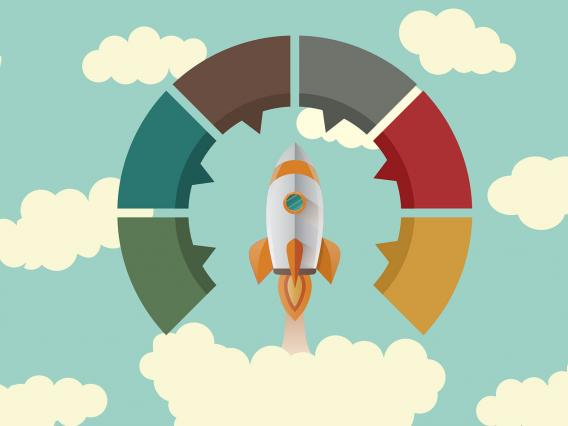 Rocket in cloud with six elements