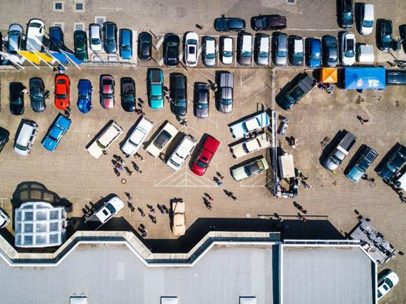 Aerial view of shopping center parking lot