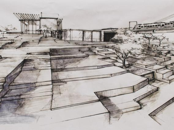 Architectural sketch by M Arch student
