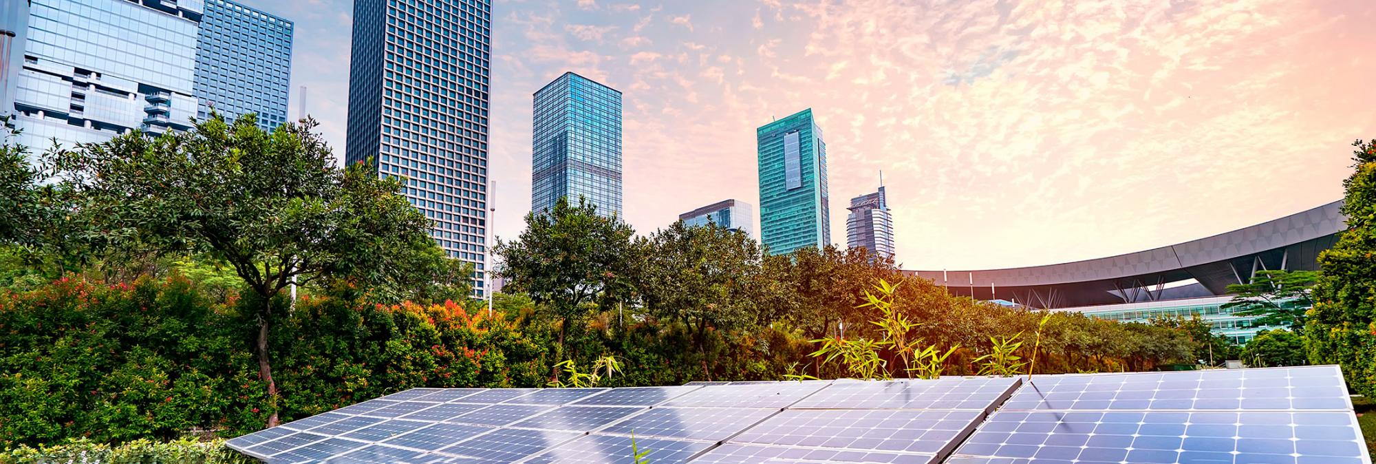 Downtown buildings with photovoltaic panels