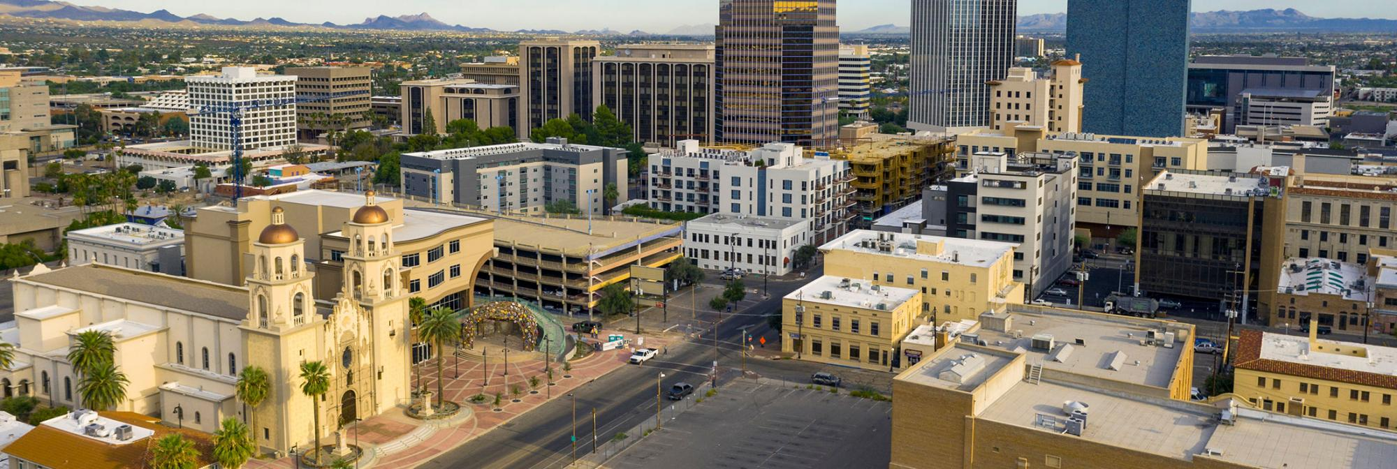 Aerial view of downtown Tucson