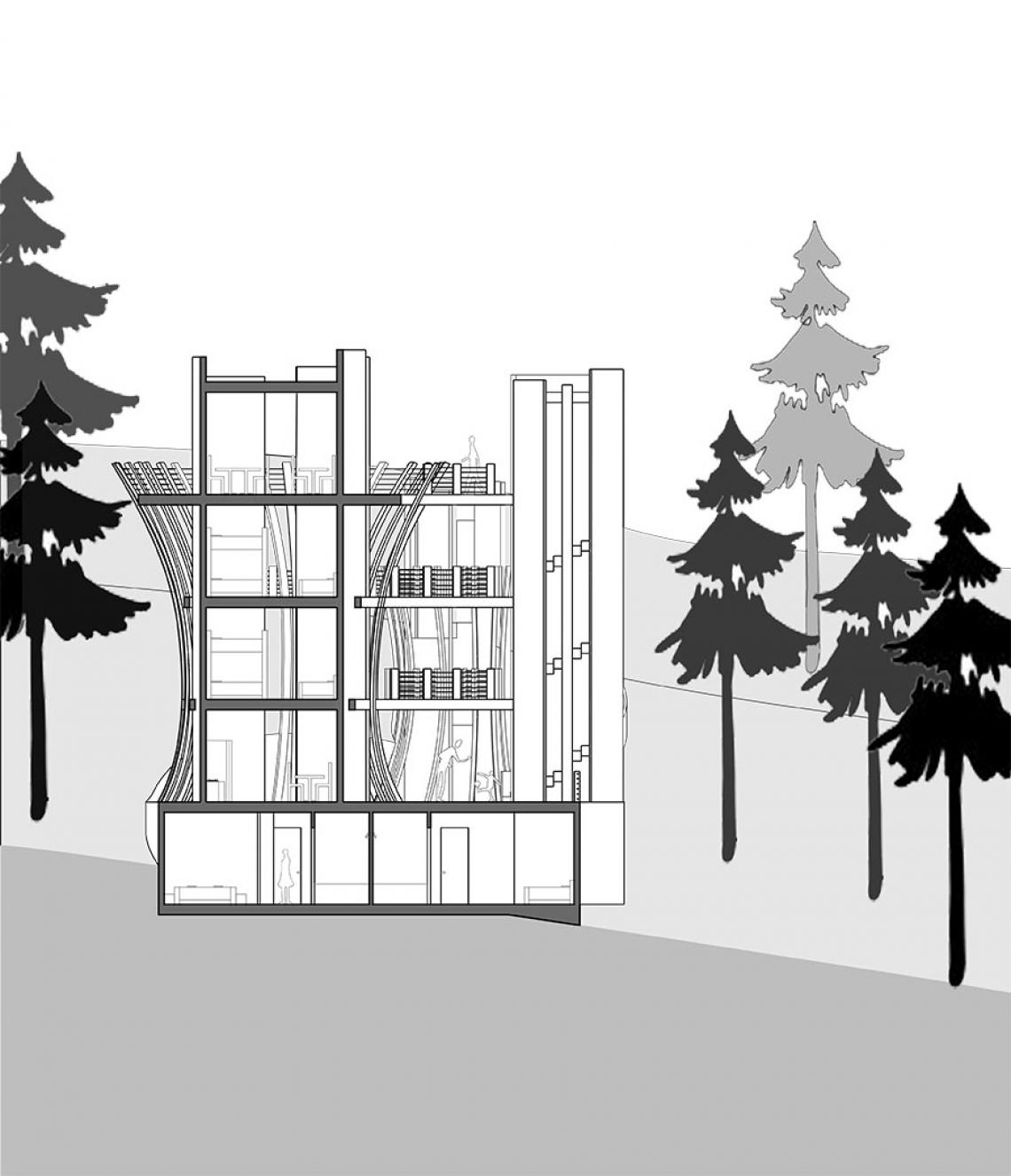 Climate and Research Center cross-section drawing by Lydia Roberts