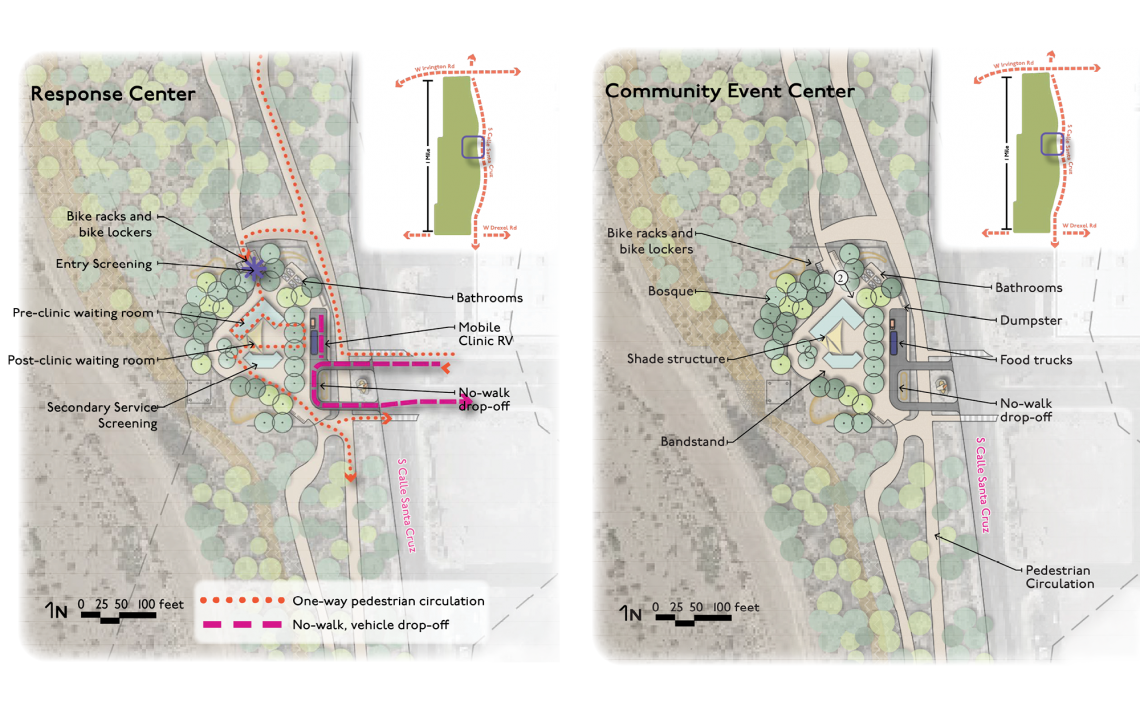 Plan views of the response and event center area of Hope Rock Park