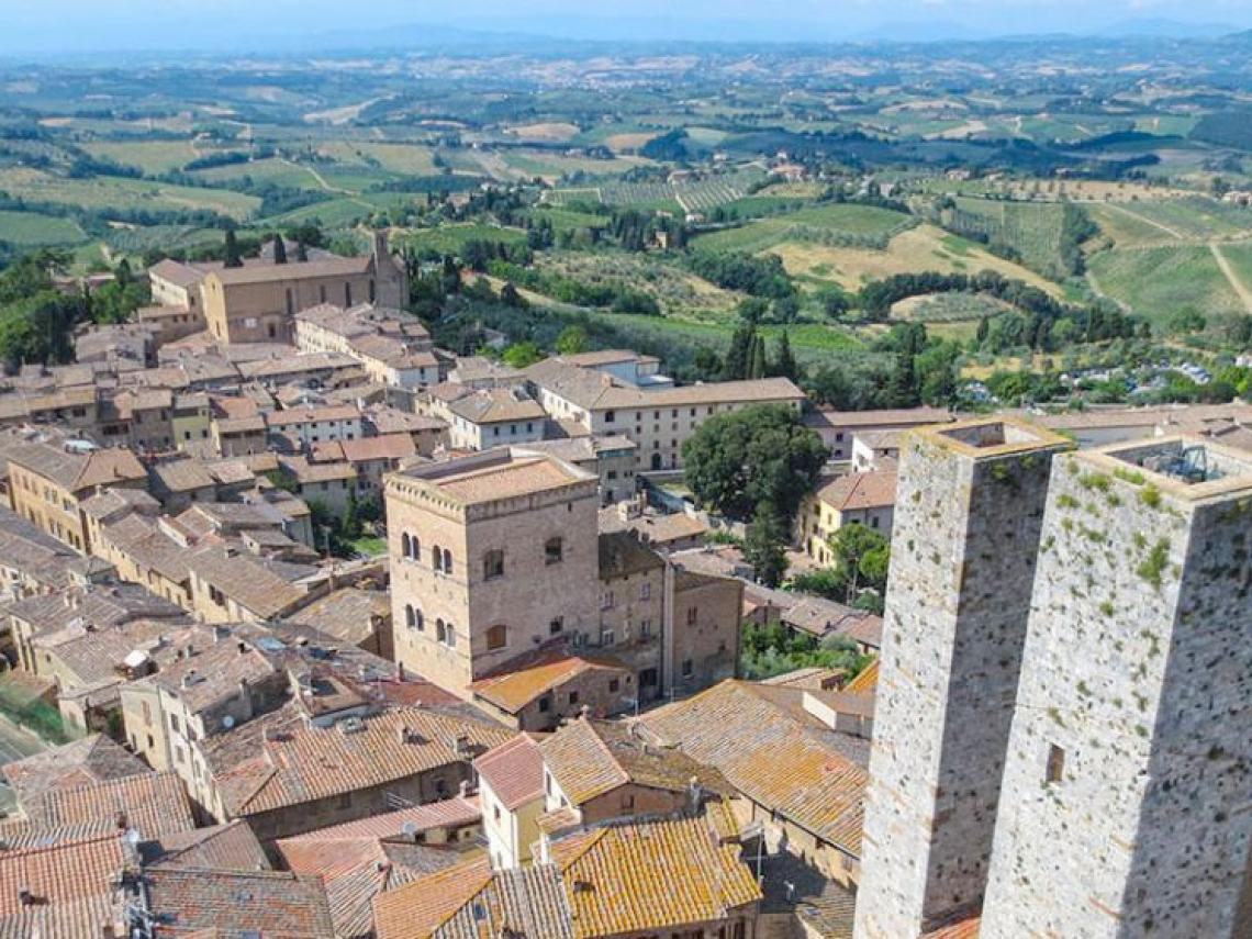 Italian cityscape and countryside