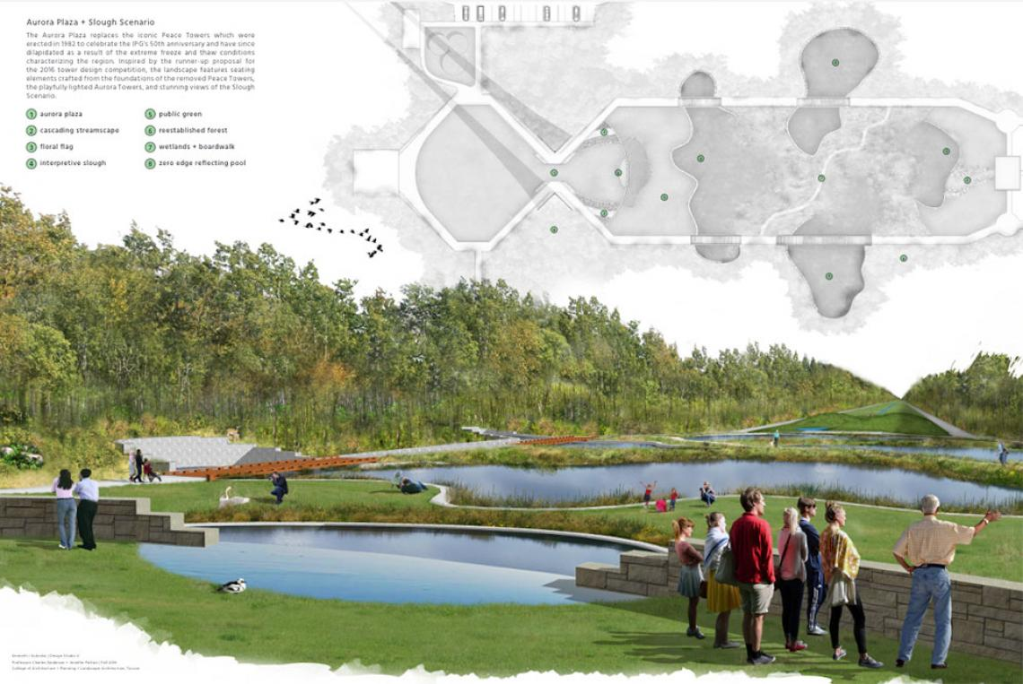 Site plan and elevation by landscape architecture student