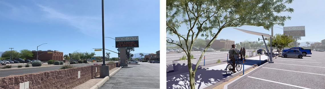 Before and after green infrastructure additions.