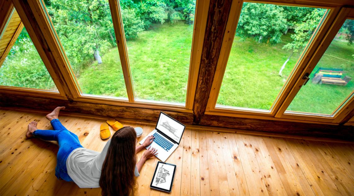Person working from home with natural light