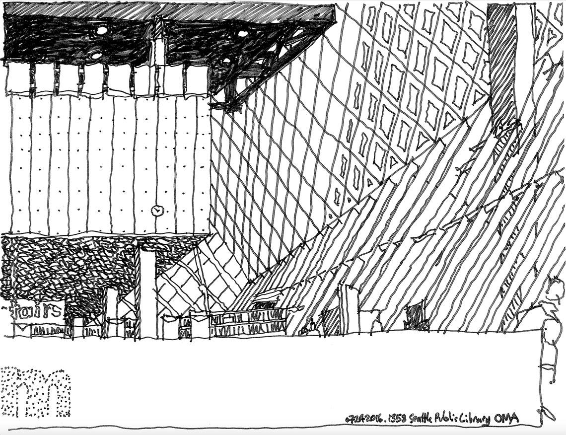 Seattle Public Library drawing by Robert Miller