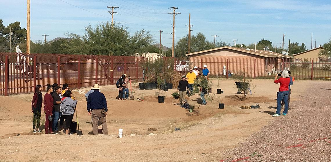 Green infrastructure work at Star Academic High School in Tucson