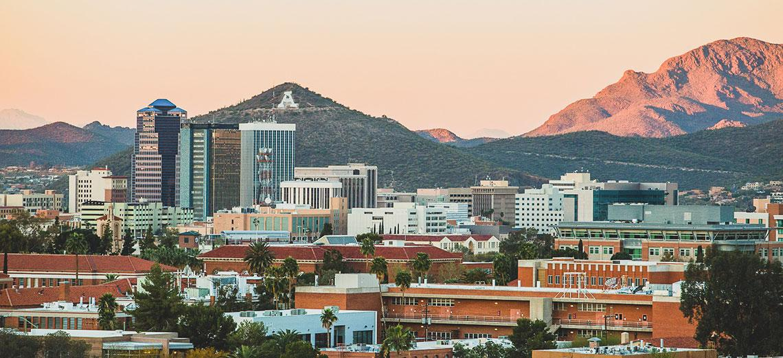 Downtown Tucson viewed from UArizona campus