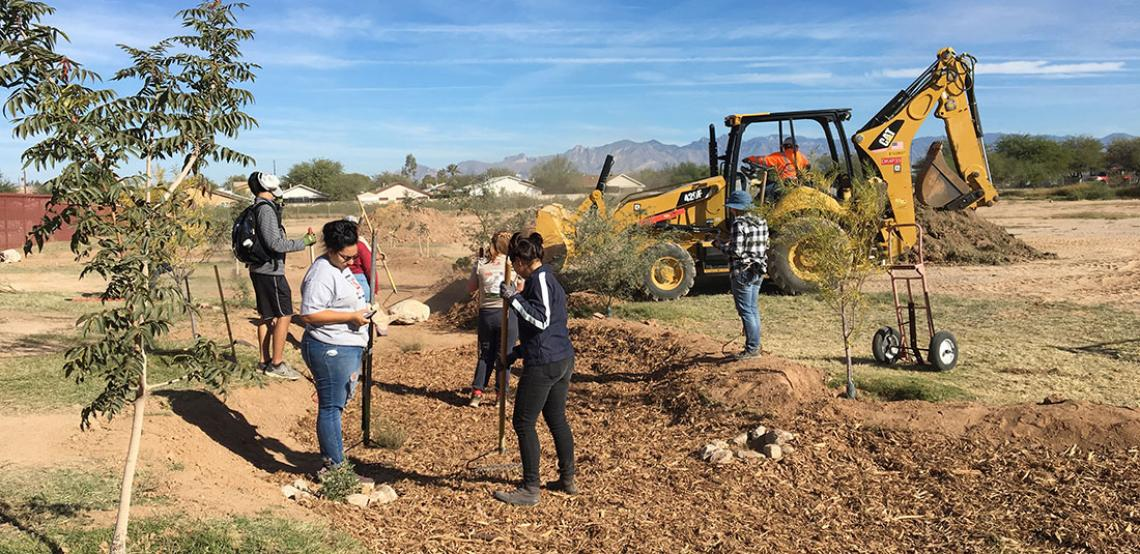 University of Arizona and Star Academic High School students at work on green infrastructure