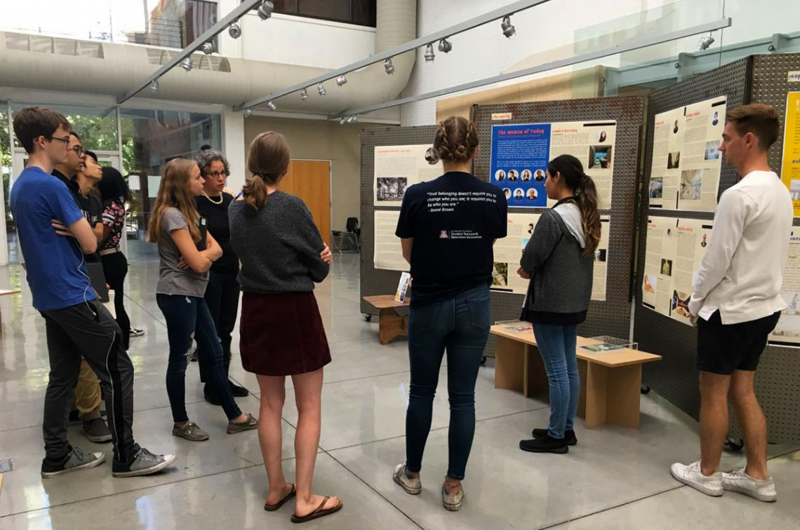Students view the Women in Architecture exhibition