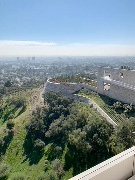 The Getty Museum overlooking the cactus garden and the Los Angeles basin