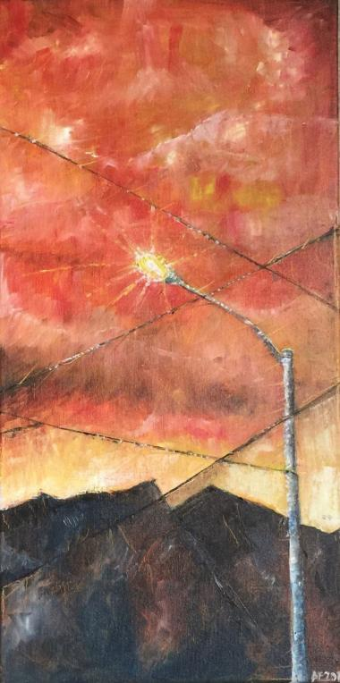 The Lamppost: An Evening in Tucson, AZ, painting by Altaf Engineer