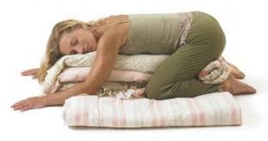Yoga: Child's Pose with blankets