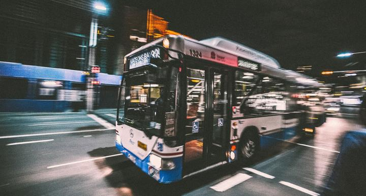 Bus in motion at night