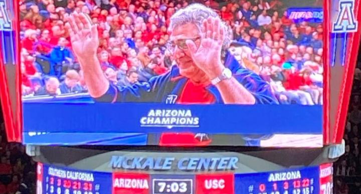 Nader Chalfoun honored at UA Men's Basketball game