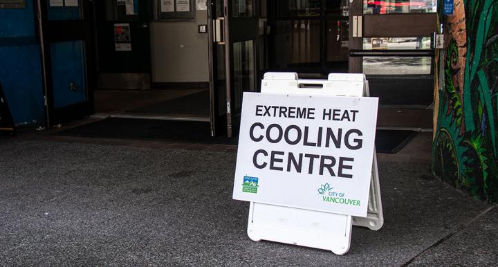 Sign for Extreme Heat Cooling Centre, City of Vancouver, B.C.