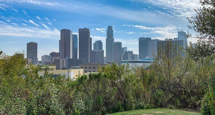 Downtown Los Angeles skyline from Vista Hermosa Park.