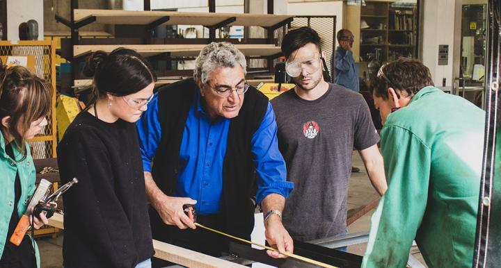 Nader Chalfoun with students in Materials Lab