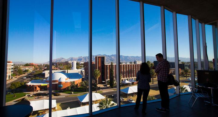 Students looking out across University of Arizona campus