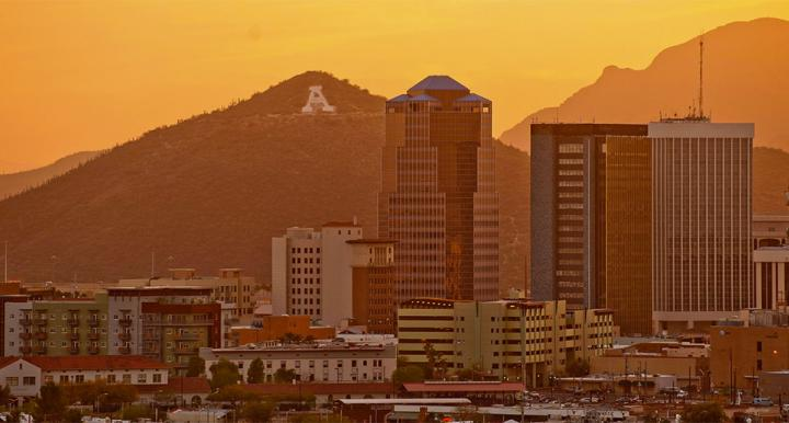 Downtown Tucson and Sentinel Peak at sunset