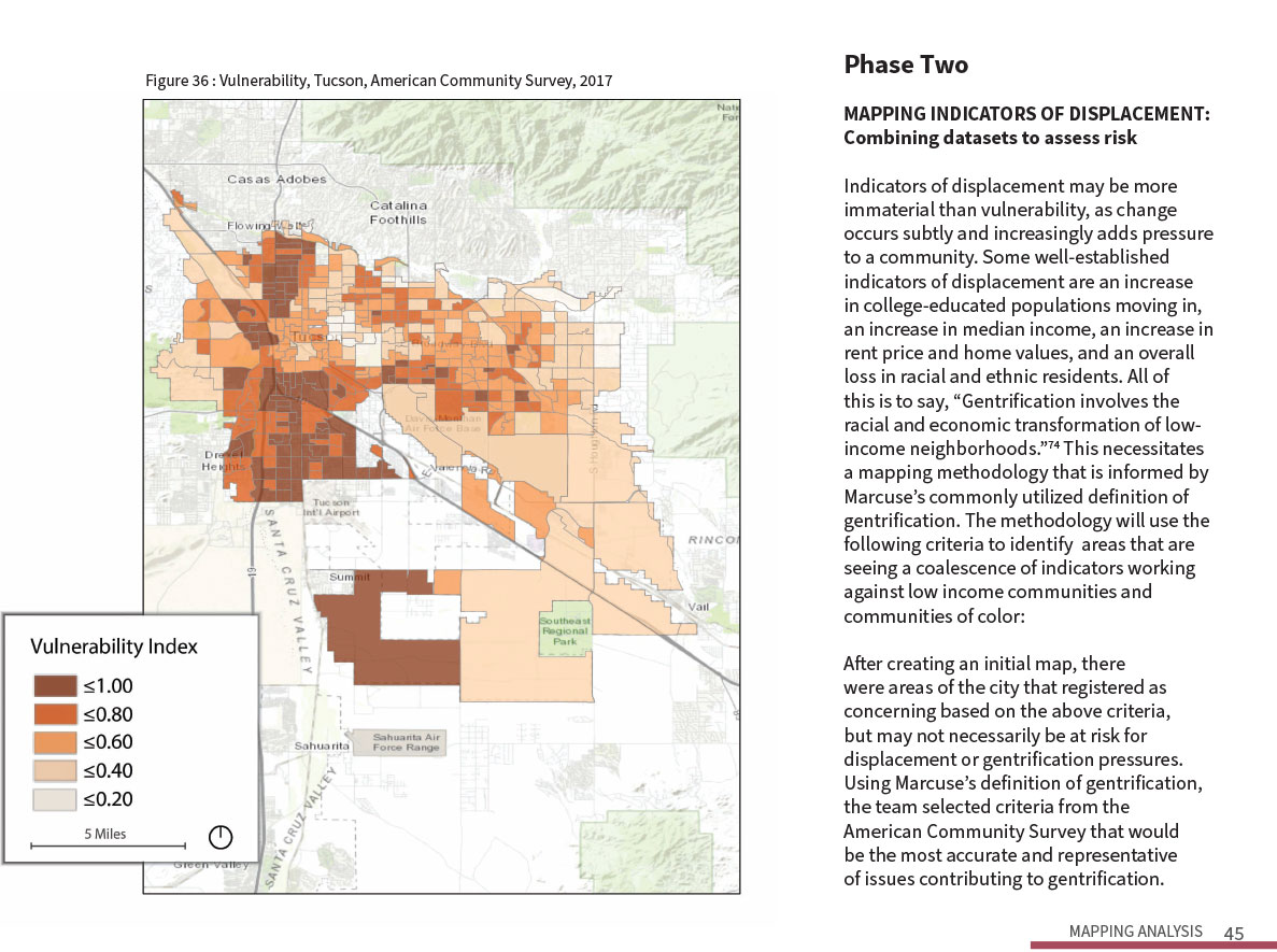Sample page from Tucson Displacement Study.