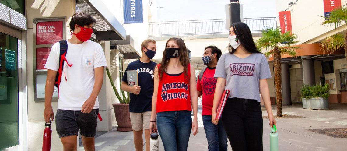 University of Arizona students with face masks